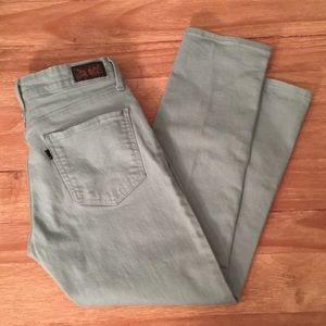 Levis Mid Rise Skinny Jeans Seafoam Green Crop